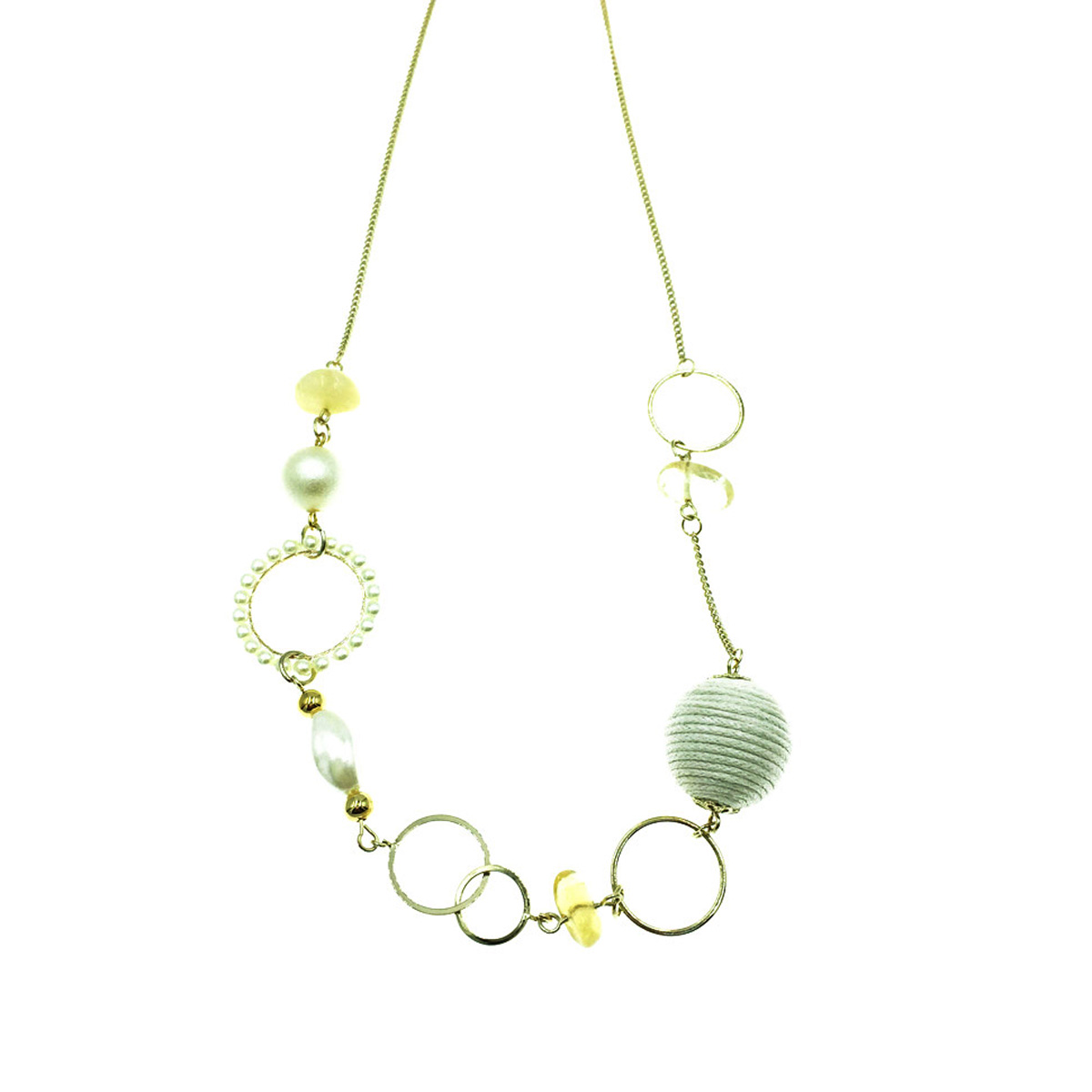 韓國 珍珠 串珠 氣質 方型圓形 簡約幾何 長項鍊