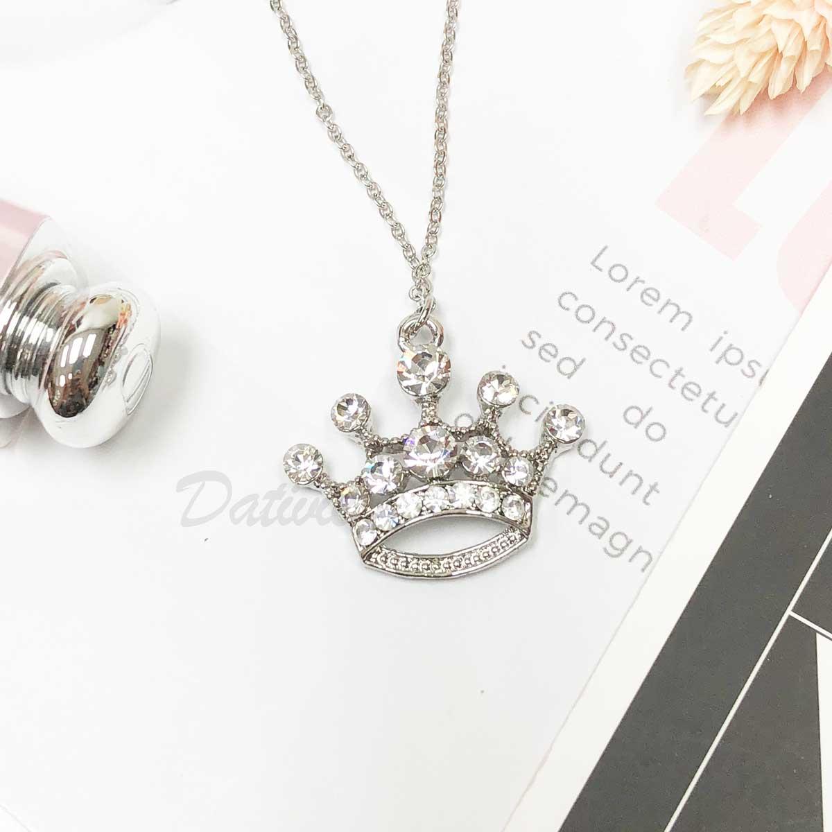 韓國 皇冠 鑲鑽 水鑽項鍊