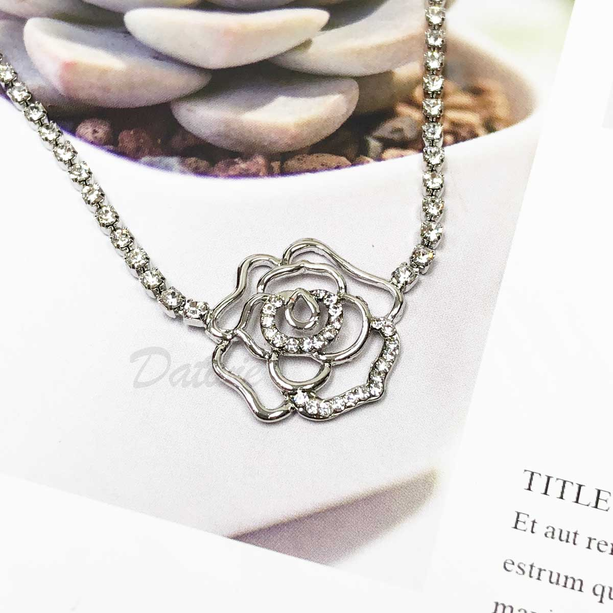 玫瑰 鏤空 單朵立體 鑲鑽 水鑽項鍊