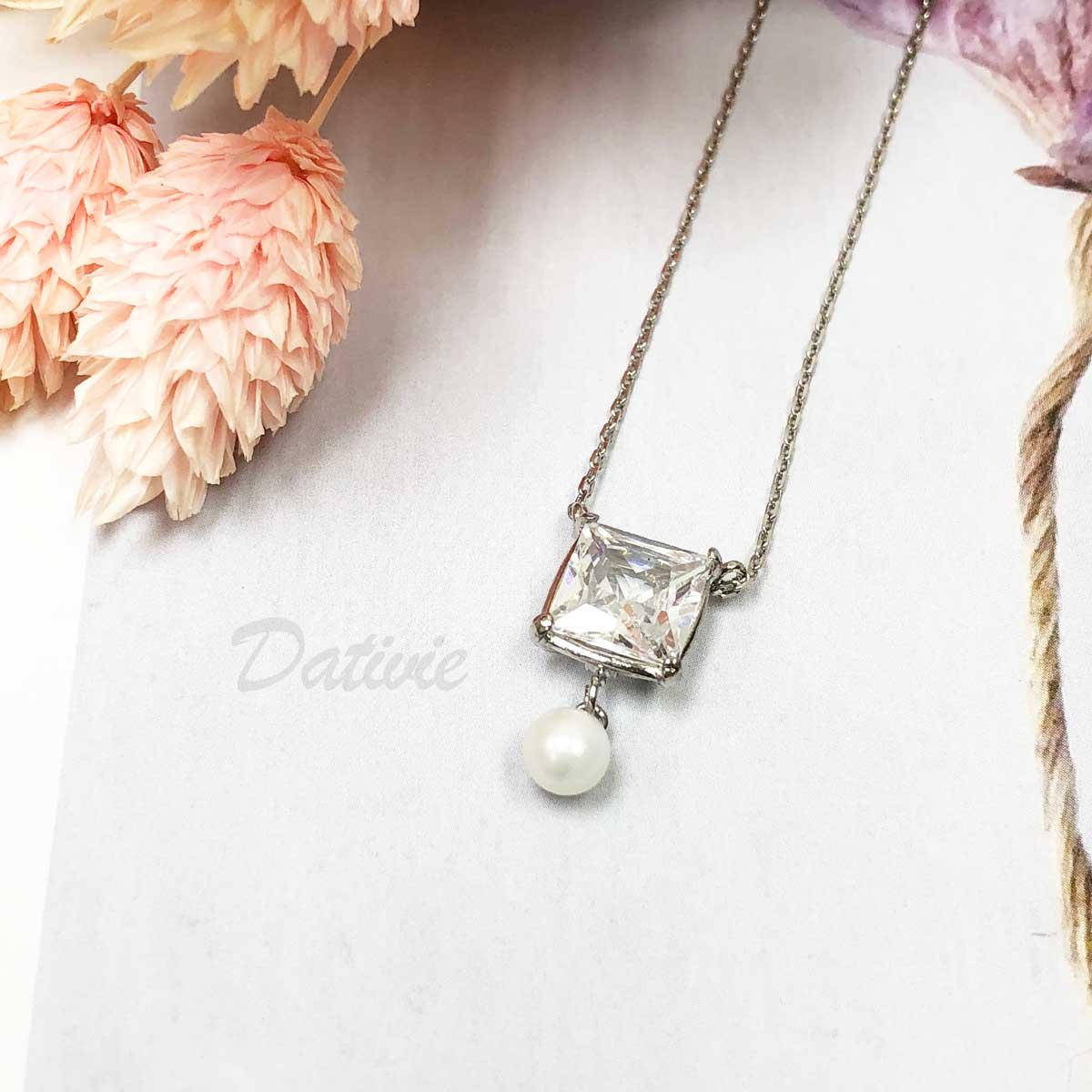 韓國 方鑽 珍珠 氣質 優雅 水鑽項鍊