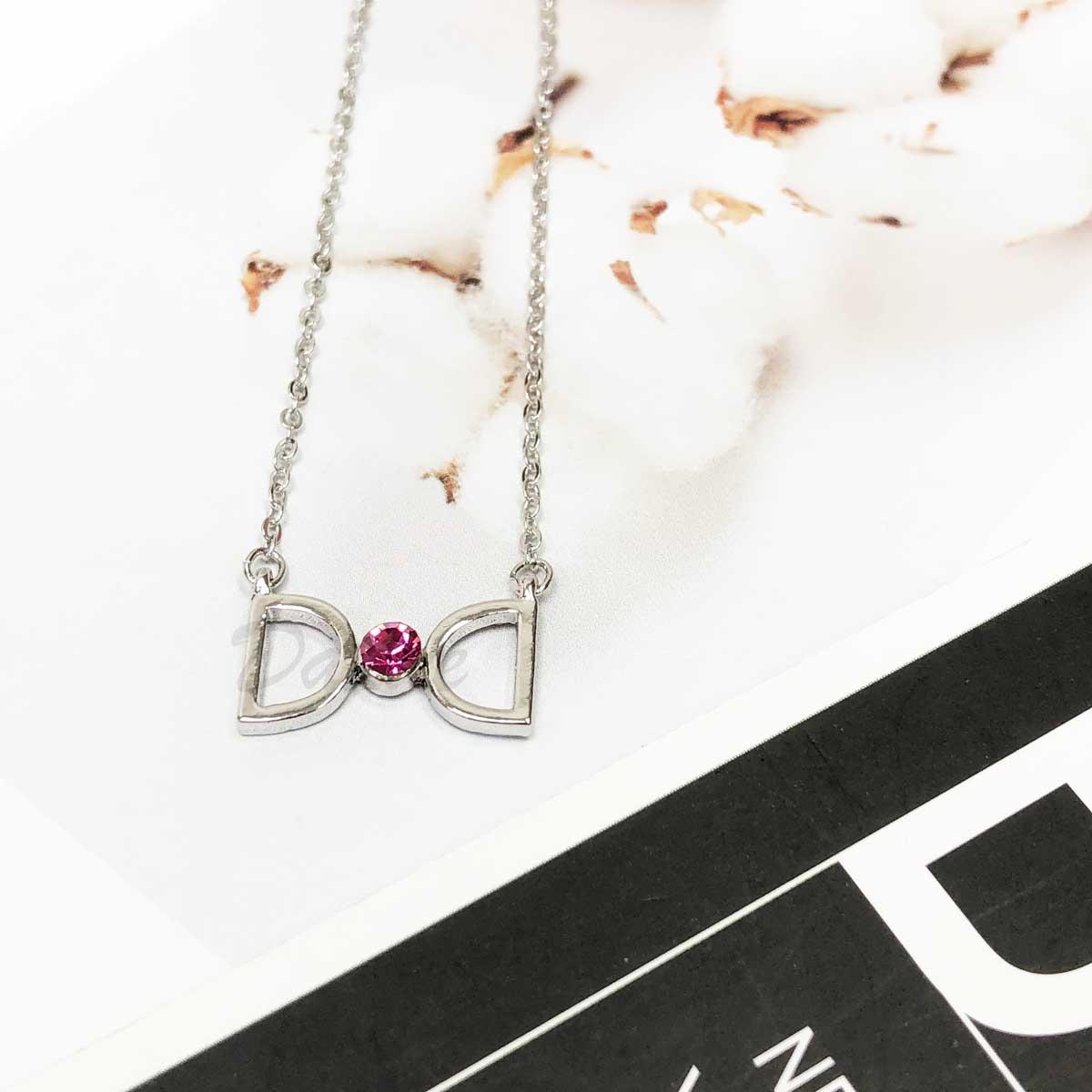 韓國 對稱雙D 粉紅單鑽 氣質款 水鑽項鍊