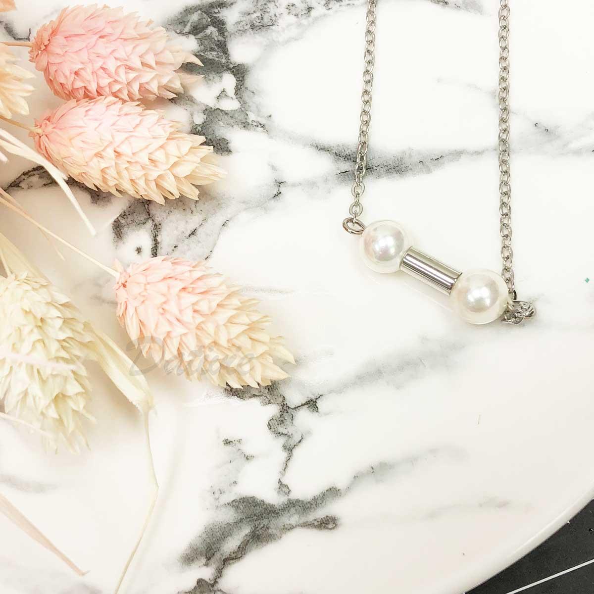 韓國 珍珠 對稱雙珍珠 優雅 氣質款 水鑽項鍊