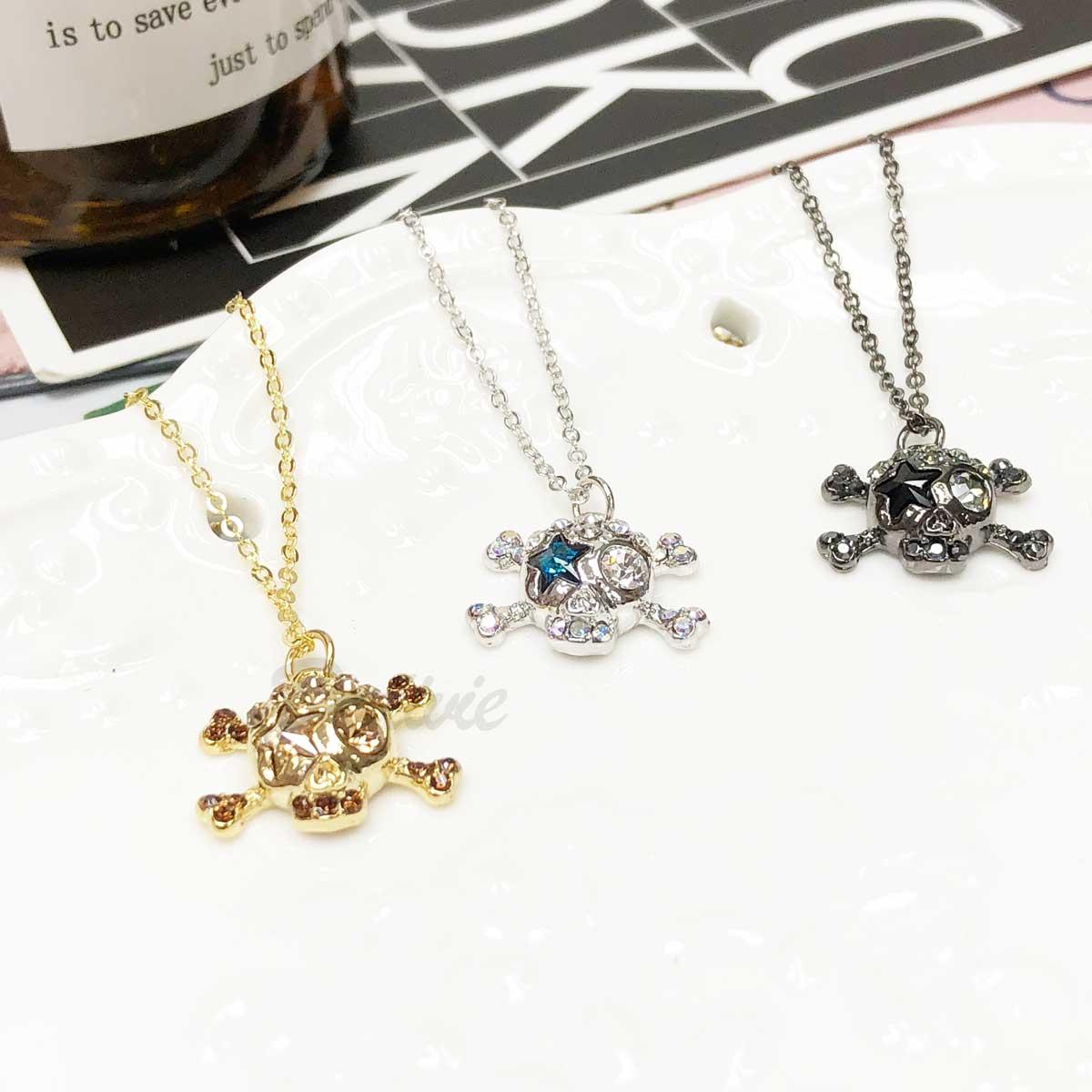 韓國 骷髏頭 金 銀 黑 鑲鑽 水鑽項鍊