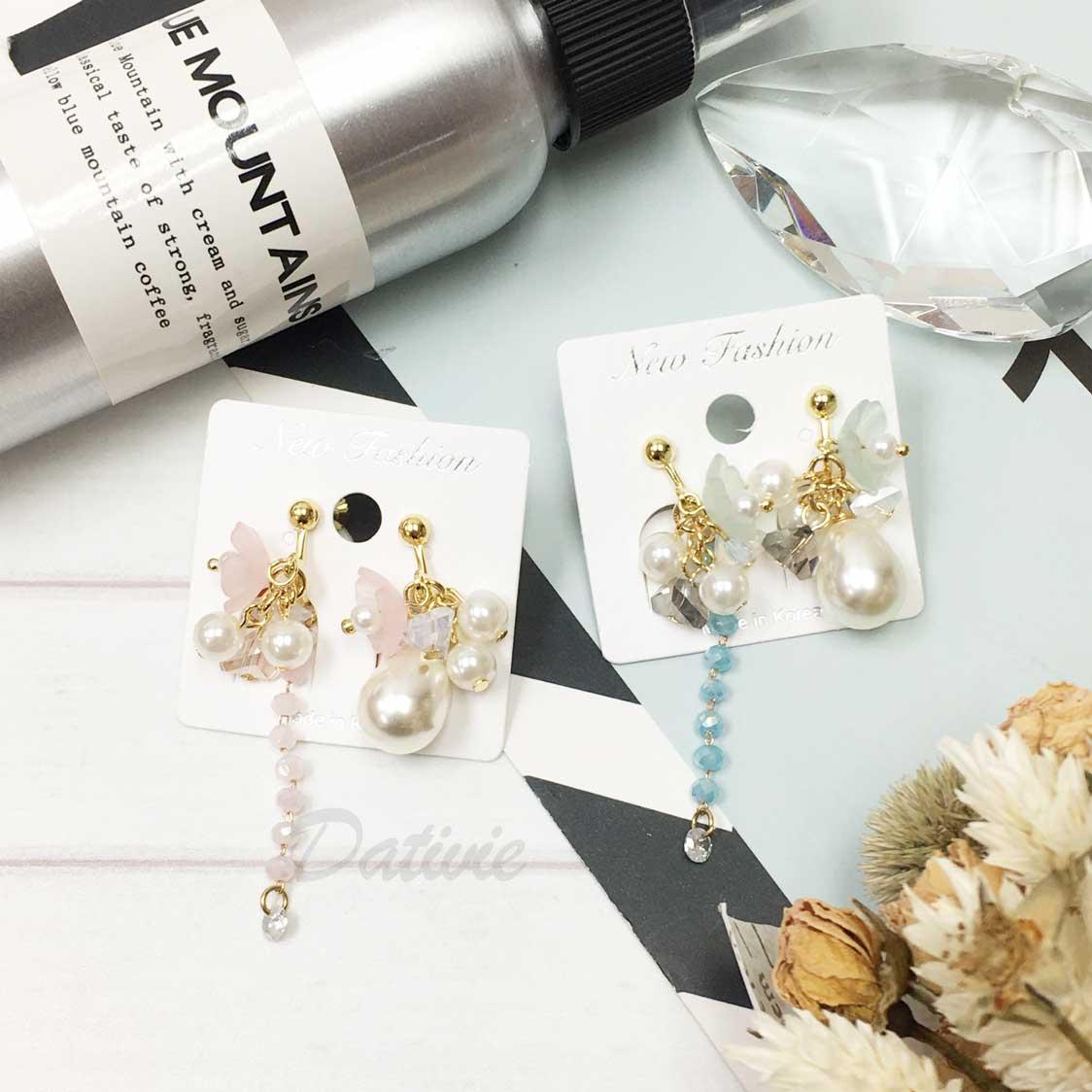 韓國 串珠 珍珠 花朵 可愛甜美風 夾式垂墜耳環
