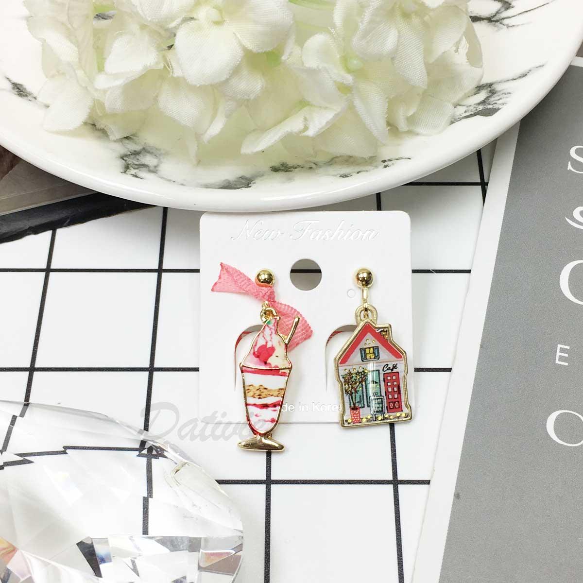 韓國 可愛質感 小木屋 星巴克 巧克力聖代 草莓冰淇淋 造型夾式垂墜耳環
