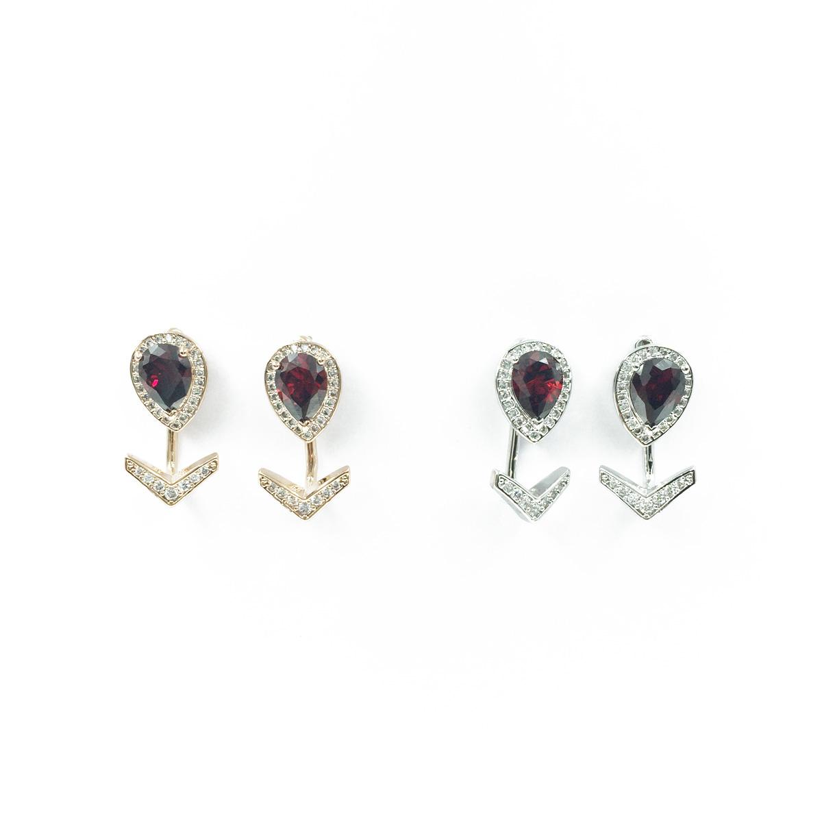 韓國 925純銀 男朋友韓劇同款 倒V 水鑽  質感 紅寶石 垂墜耳環