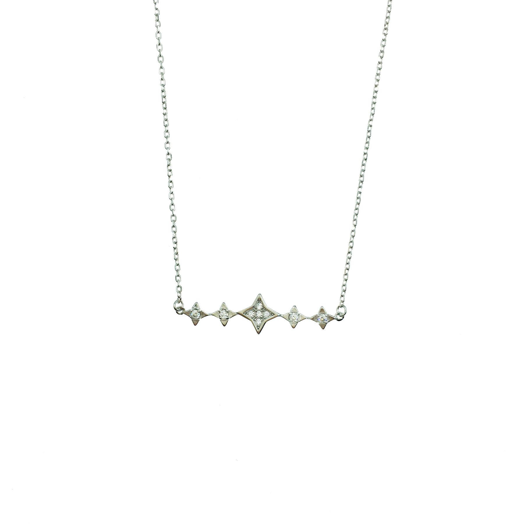 韓國 925純銀 十字星芒 五連星 簡約 水鑽質感 項鍊