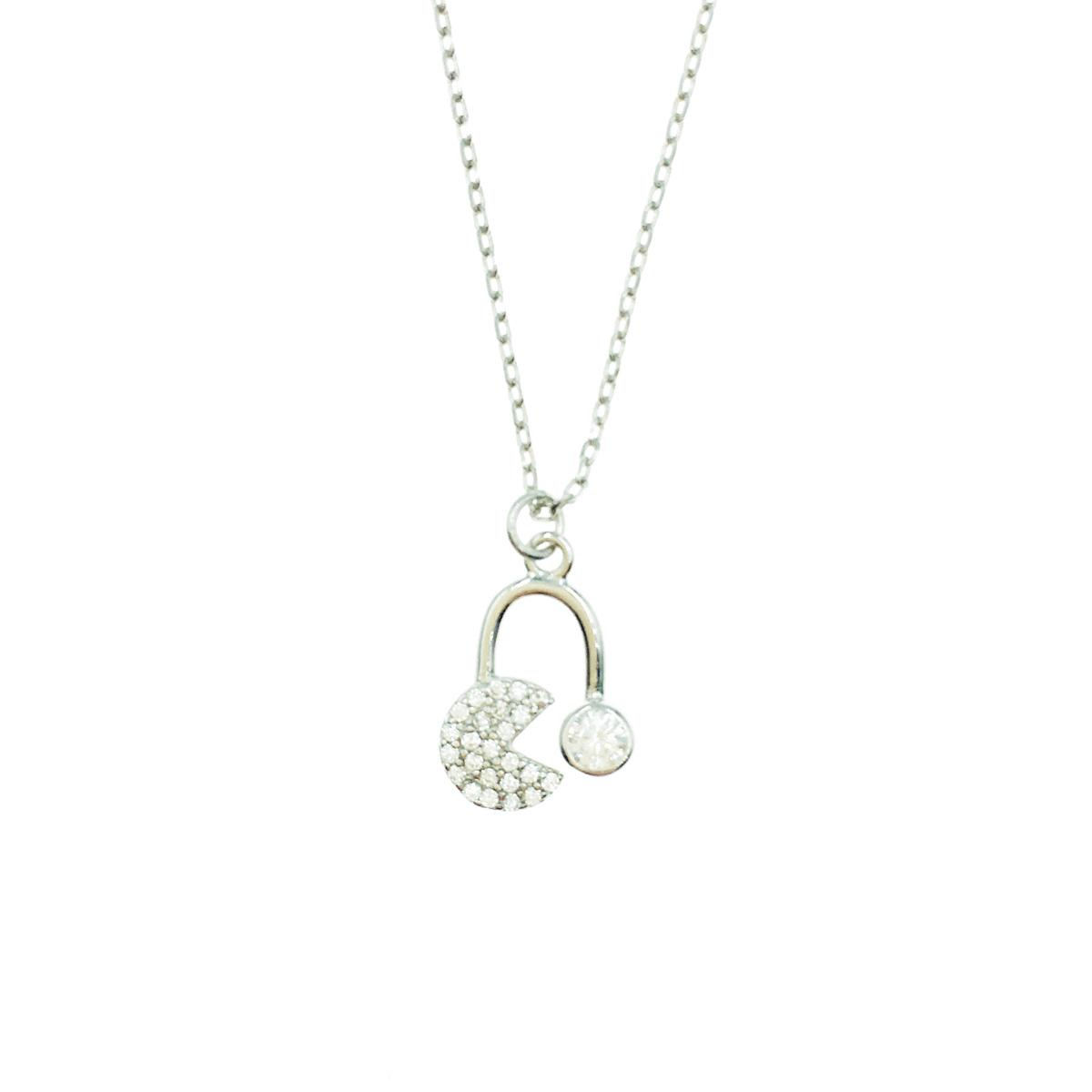 韓國 925純銀 可愛 俏皮 小精靈 低調水鑽簡約質感 項鍊