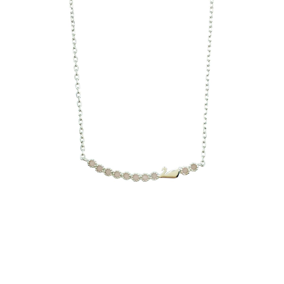 韓國 925純銀 粉鑽排排站 天鵝 低調水鑽簡約質感 項鍊