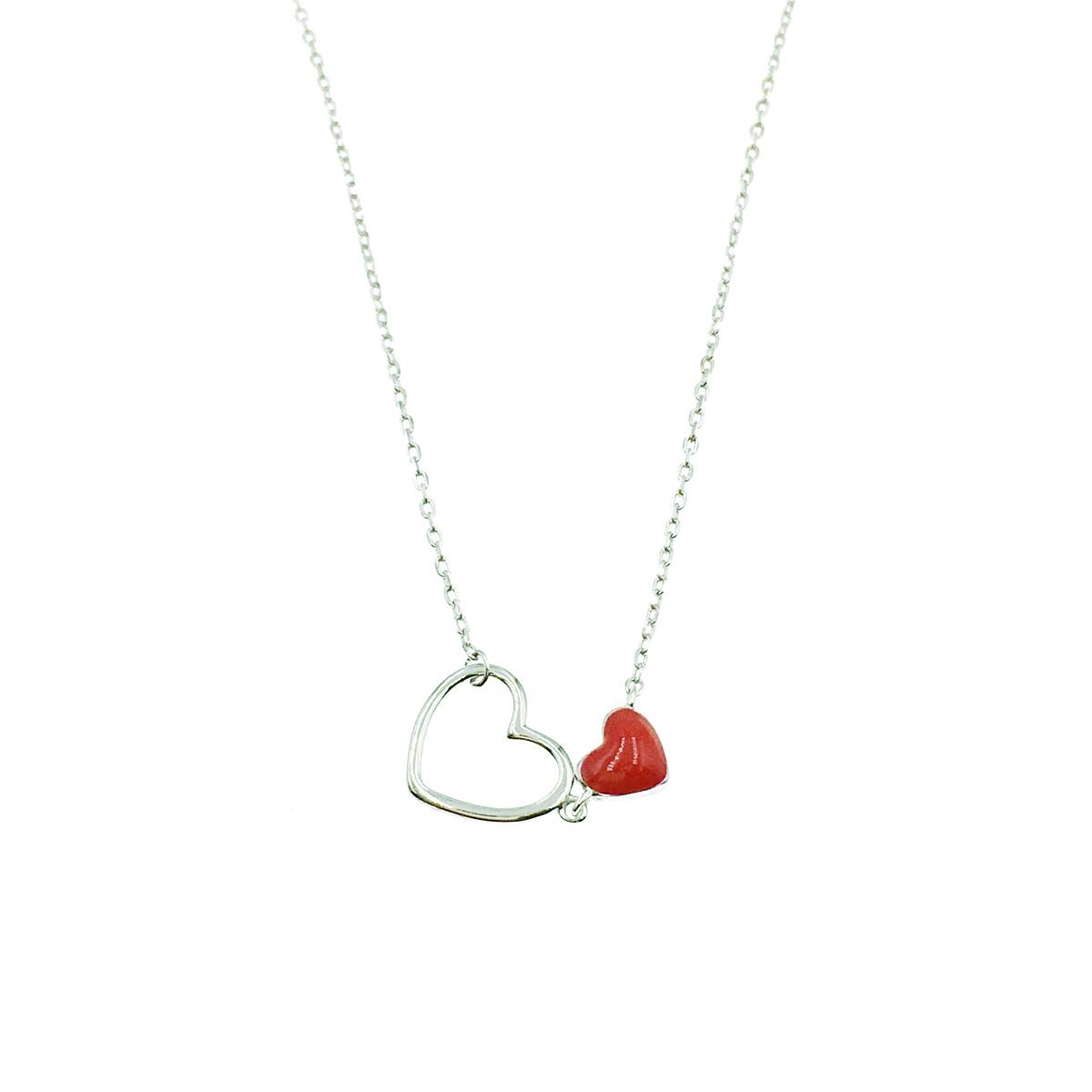 韓國 925純銀 雙心 簍空 紅心 低調水鑽 簡約 質感項鍊