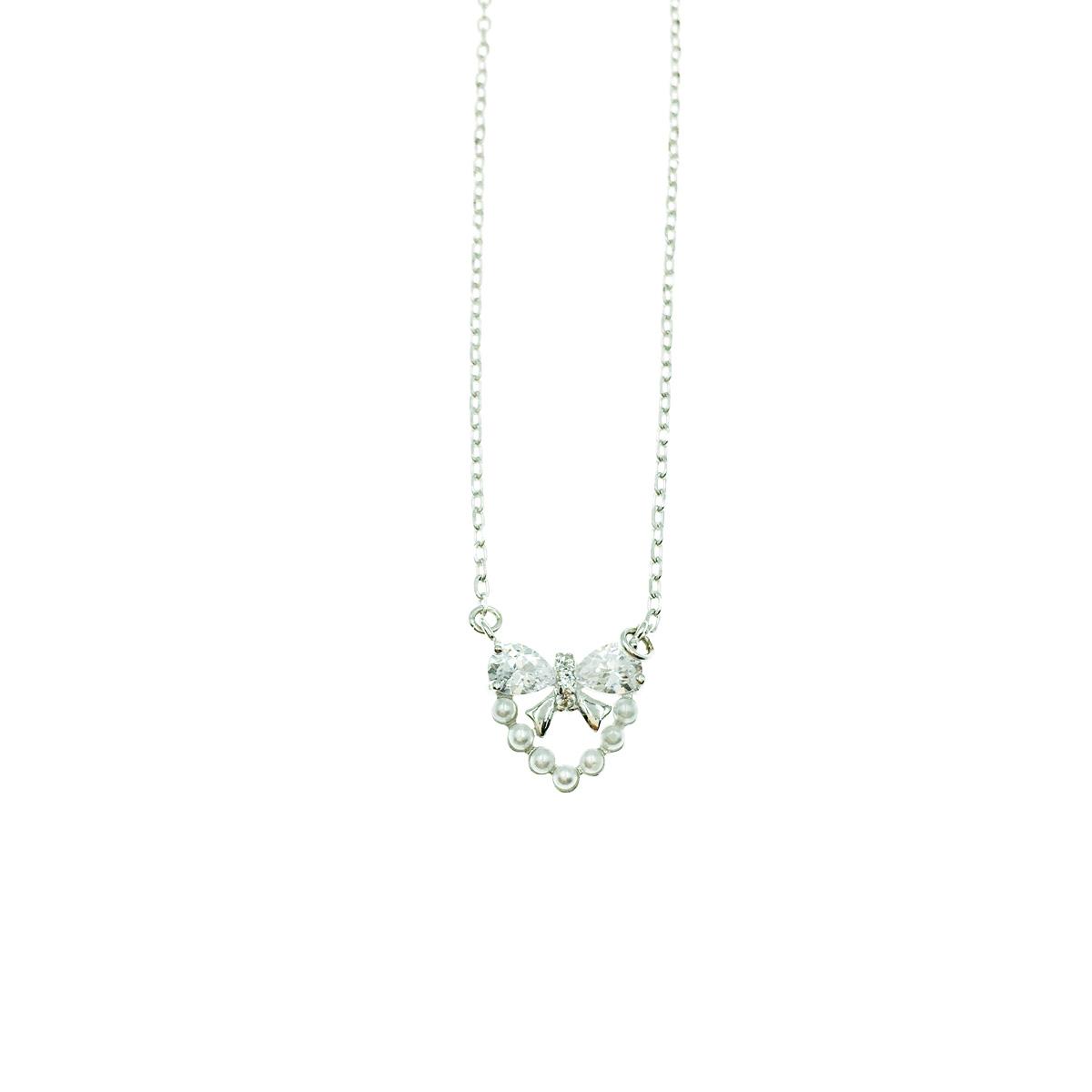韓國 925純銀 立體愛心 珍珠 蝴蝶結水鑽簡約質感 項鍊