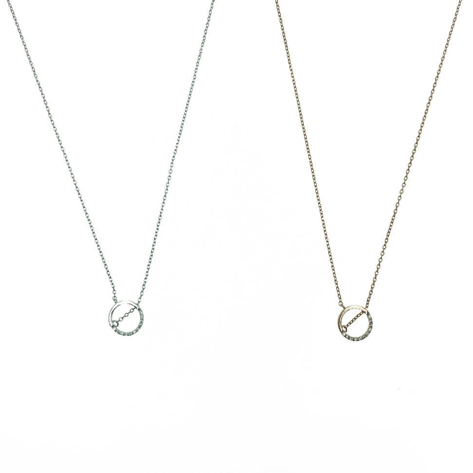 韓國 925純銀 水鑽圓圈 簍空 質感 項鍊
