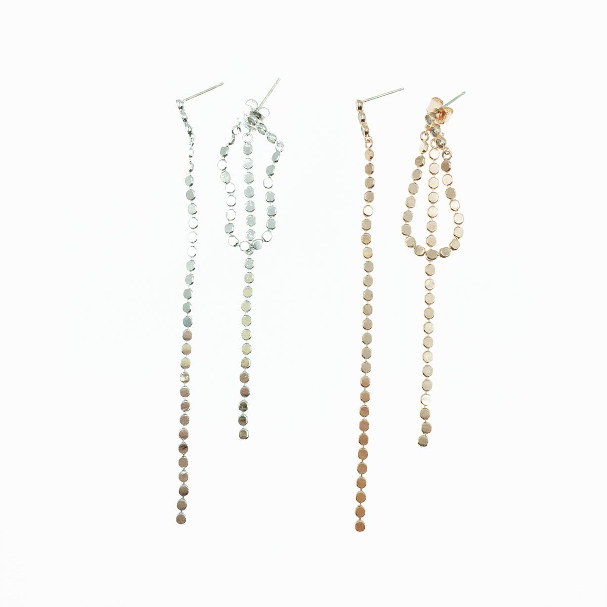 韓國 925純銀 水鑽 圓鑽鍊 2色 華麗風 垂墜耳針式耳環