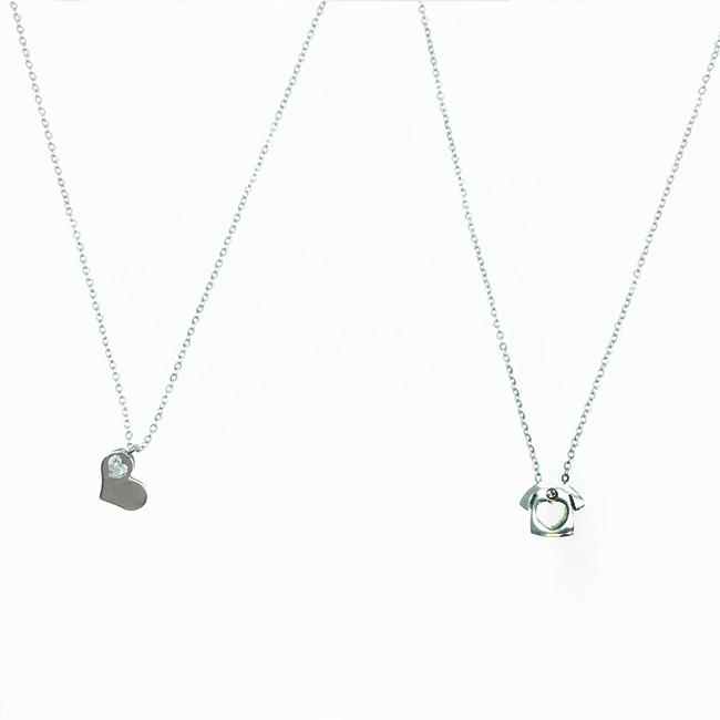 韓國 不鏽鋼 愛心 水鑽 衣服 簍空 夾心 英文字母 刻字 項鍊