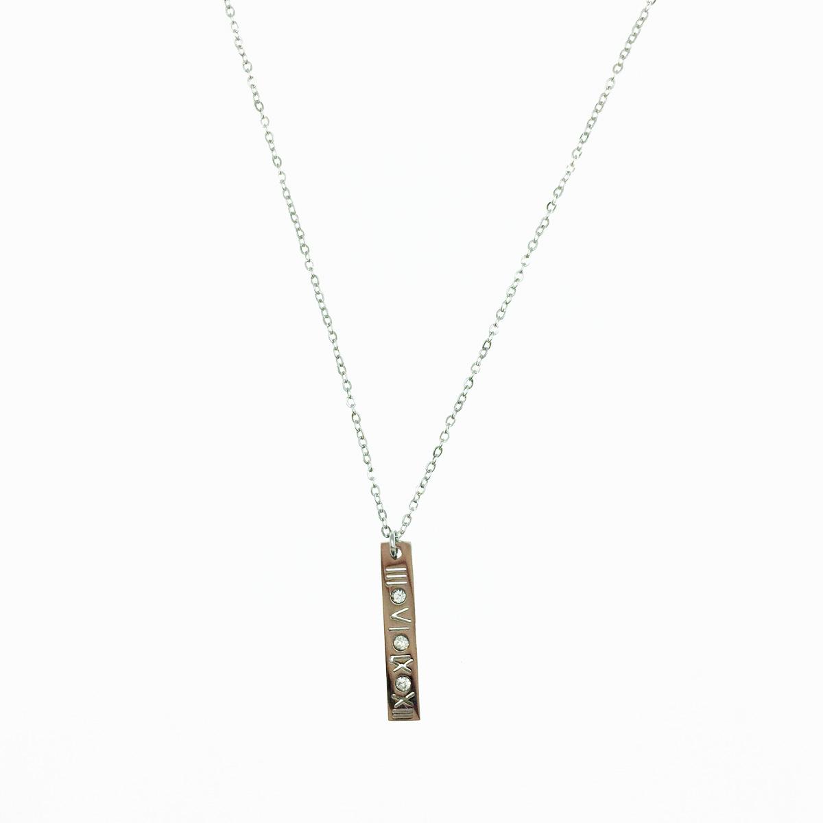 韓國 不鏽鋼 羅馬數字 刻字 簍空 水鑽 項鍊