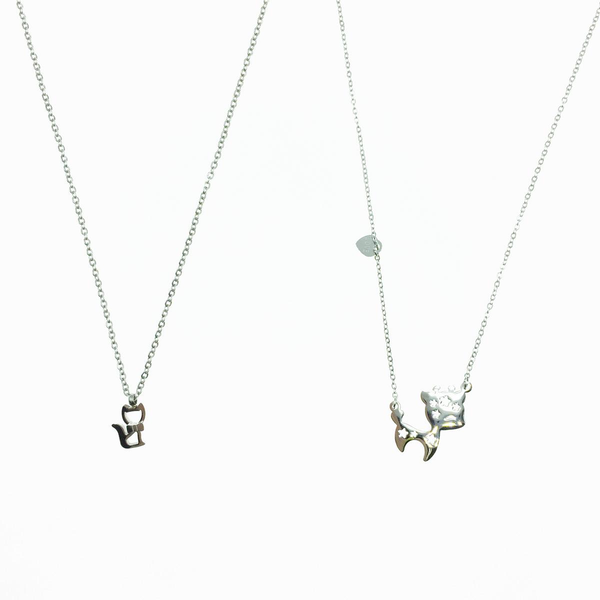 韓國 不鏽鋼 簍空 貓咪造型 可愛動物 愛心吊牌 2款 項鍊