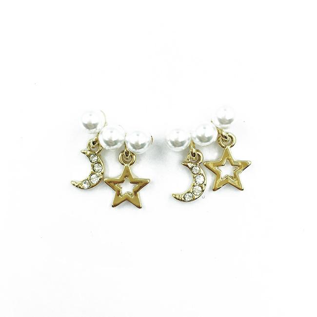韓國 925純銀 珍珠 水鑽月亮 簍空星星 金色 垂墜感耳針式耳環