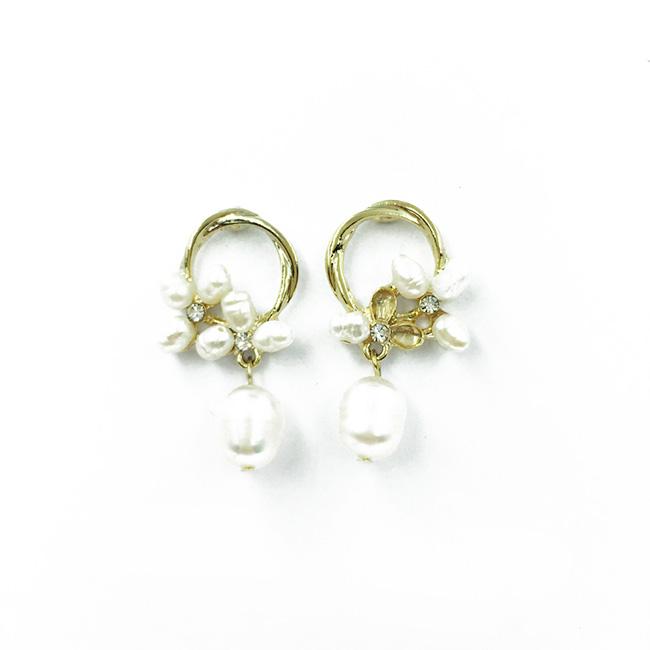 韓國 925純銀 簍空金色圓圈 珍珠花 水鑽 垂墜感耳針式耳環