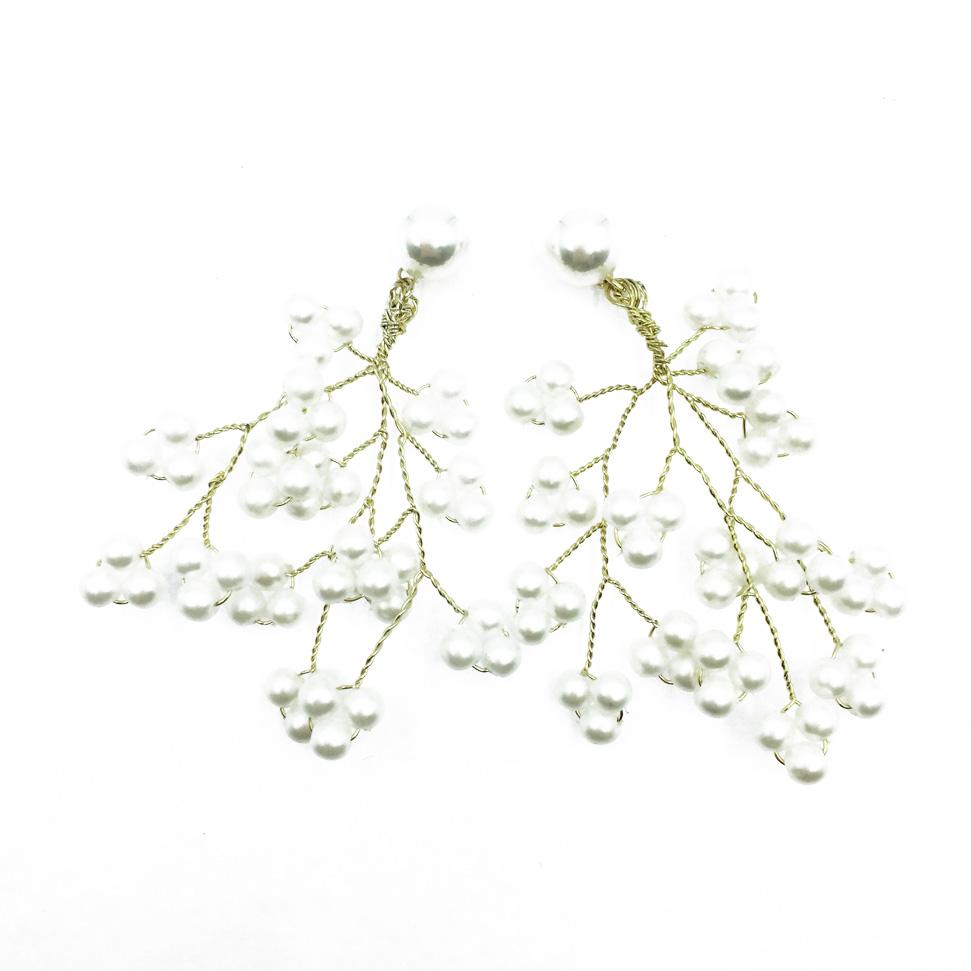 韓國 925純銀 樹枝狀造型 氣質珍珠 華麗款 垂墜感耳針式耳環