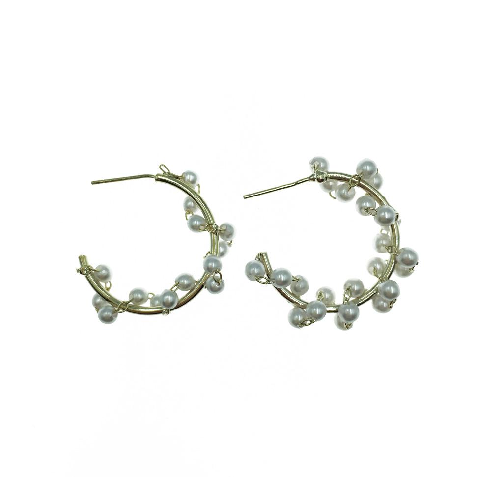 韓國 925純銀 開口圓圈 螺旋珍珠 金色 精緻耳針式耳環