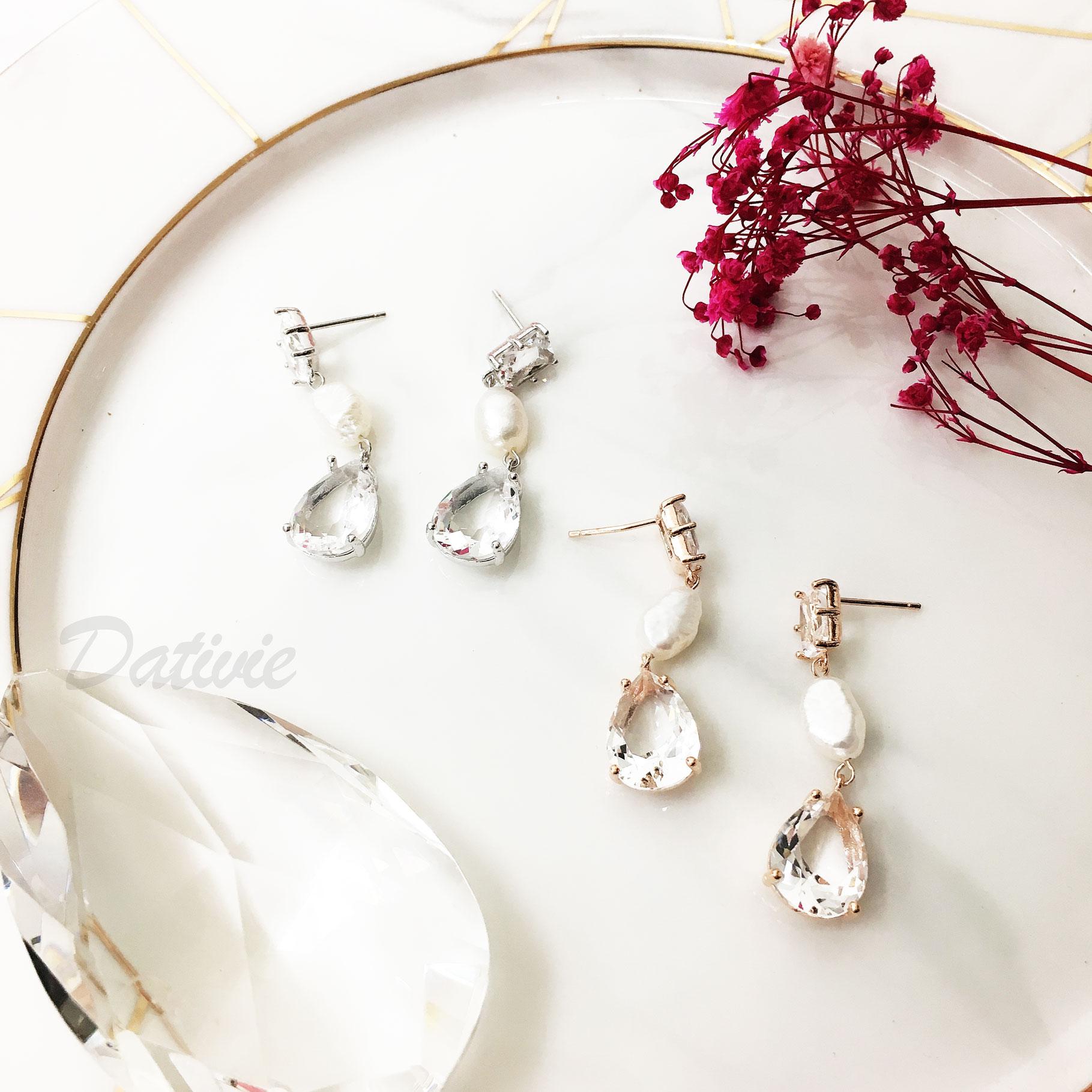 韓國 925純銀 珍珠水滴水鑽 垂墜簡約質感 針式耳環