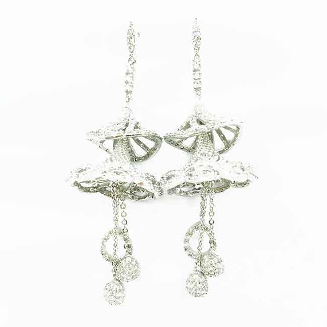 立體 流蘇 水鑽 耳針式耳環 採用施華洛世奇水晶元素 Crystals from Swarovski