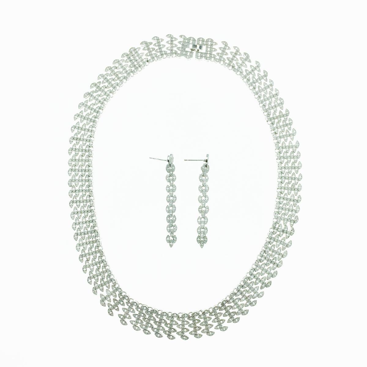 韓國 水鑽 愛心 華麗新娘飾品 項鍊耳環套組 採用施華洛世奇水晶元素 Crystals from Swarovski
