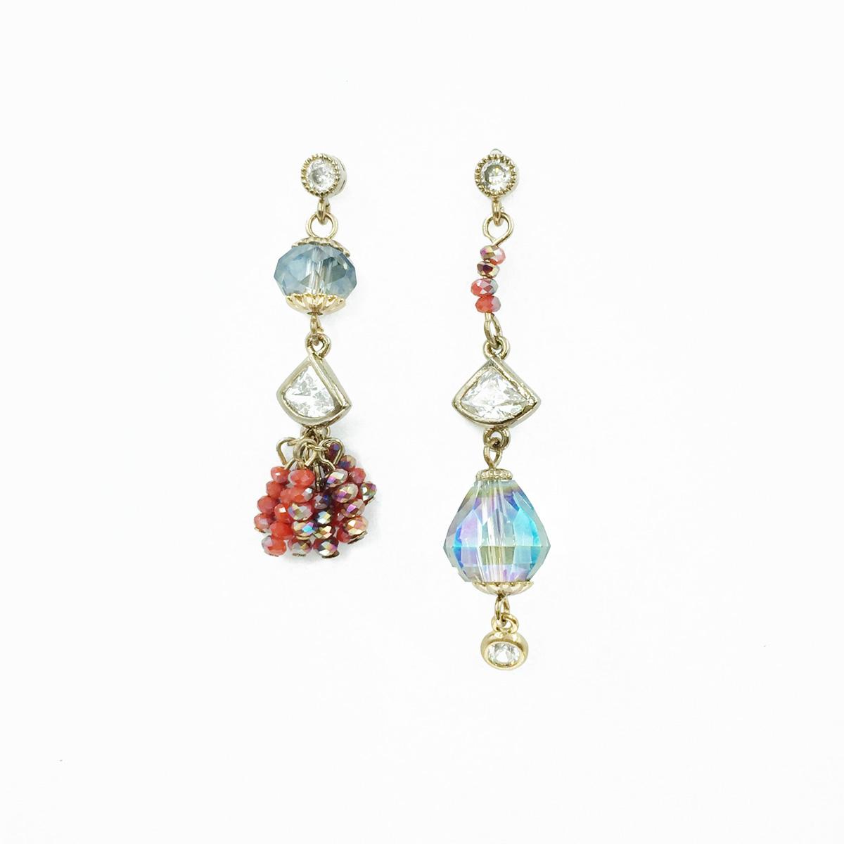 不對稱 珠珠水鑽 垂墜 耳針式耳環 採用施華洛世奇水晶元素 Crystals from Swarovski