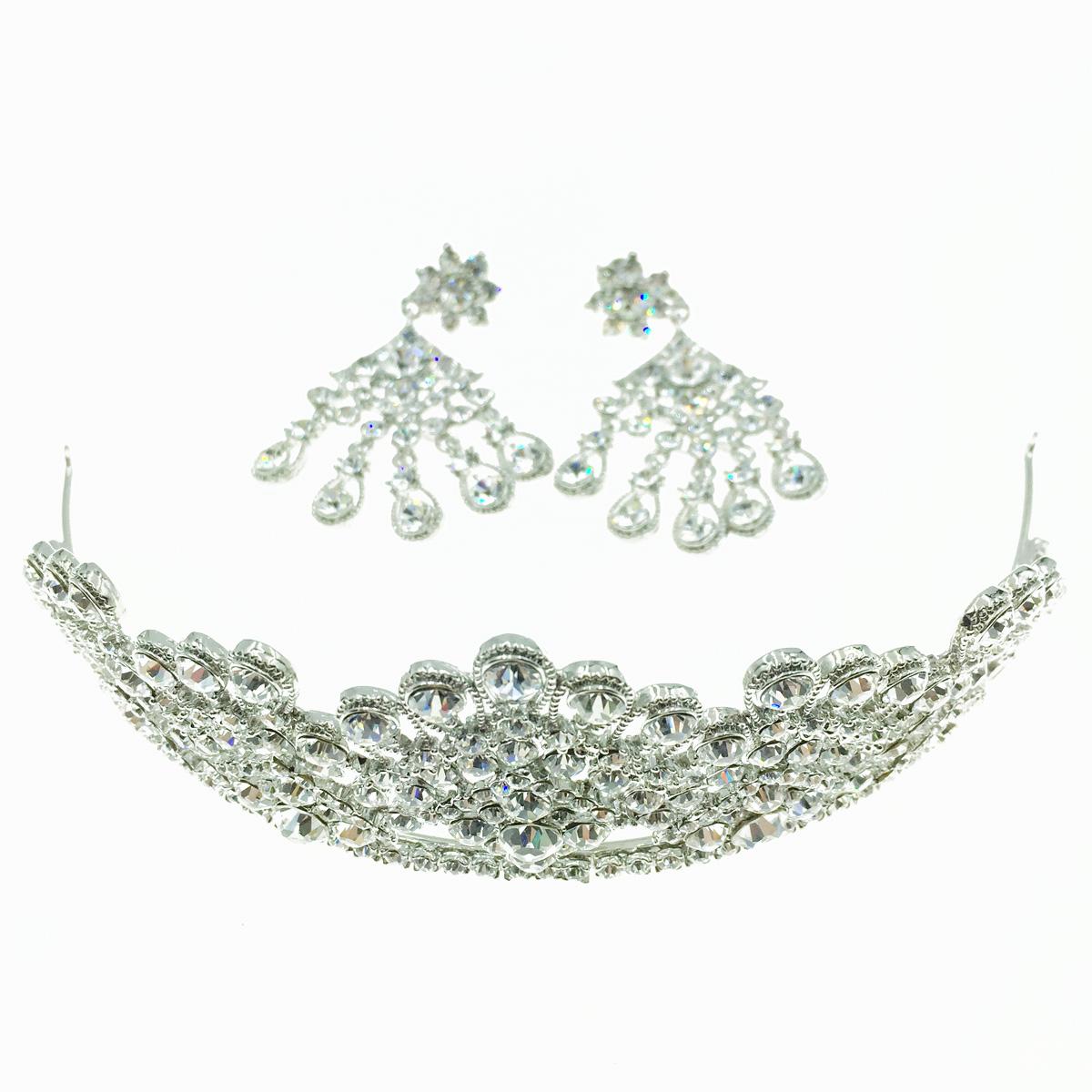 韓國 水鑽造型 皇冠 新娘飾品 夾式耳環頭飾套組 採用施華洛世奇水晶元素 Crystals from Swarovski