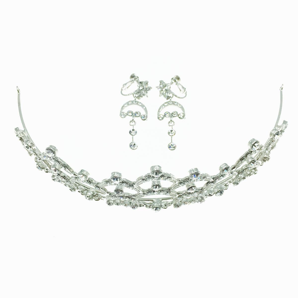 水鑽皇冠 垂墜感夾式耳環 新娘飾品 套組 採用施華洛世奇水晶元素 Crystals from Swarovski