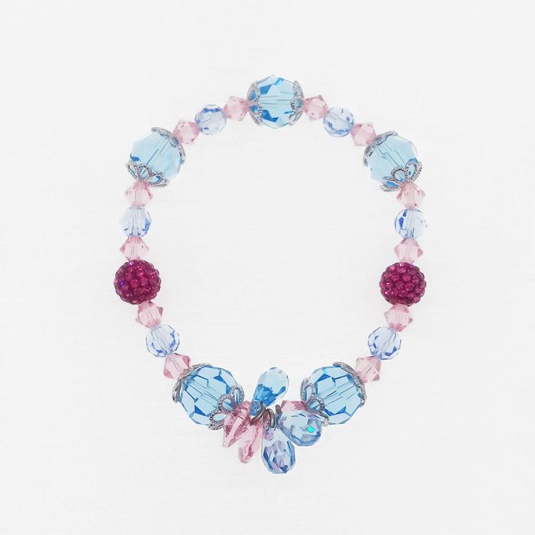 水晶 透明 粉 藍 立體 手鍊 採用施華洛世奇水晶元素 Crystals from Swarovski