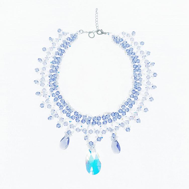 韓國 水晶 透明 藍色 垂墜感 項鍊 採用施華洛世奇水晶元素 Crystals from Swarovski