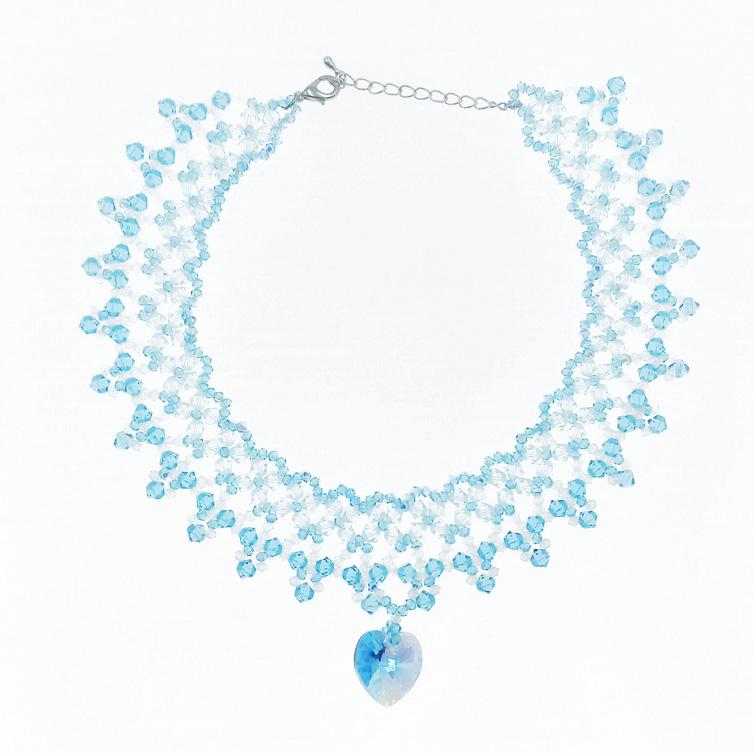 韓國 垂墜愛心 水晶 透明 藍色 項鍊 採用施華洛世奇水晶元素 Crystals from Swarovski