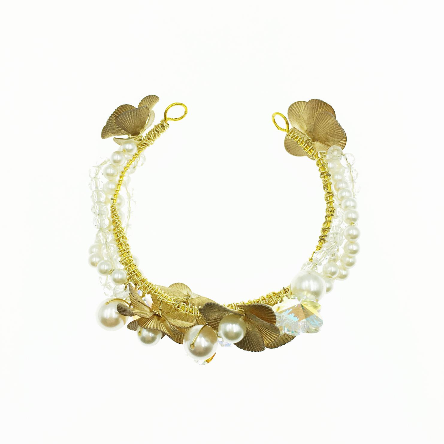 珍珠 透平水晶 金色雕刻花 手鍊 手環 採用施華洛世奇水晶元素 Crystals from Swarovski
