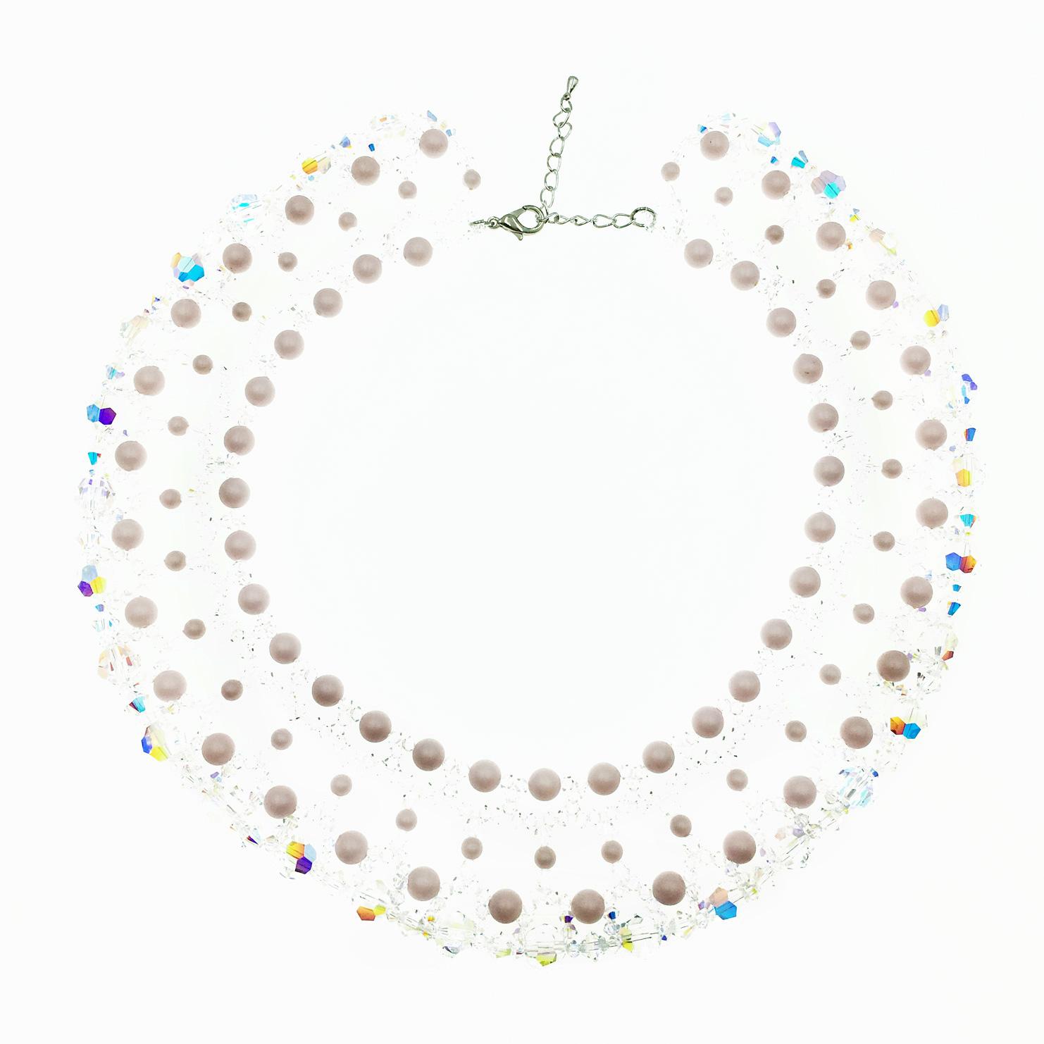 透明 水晶 小珠珠 粉色 項鍊 採用施華洛世奇水晶元素 Crystals from Swarovski
