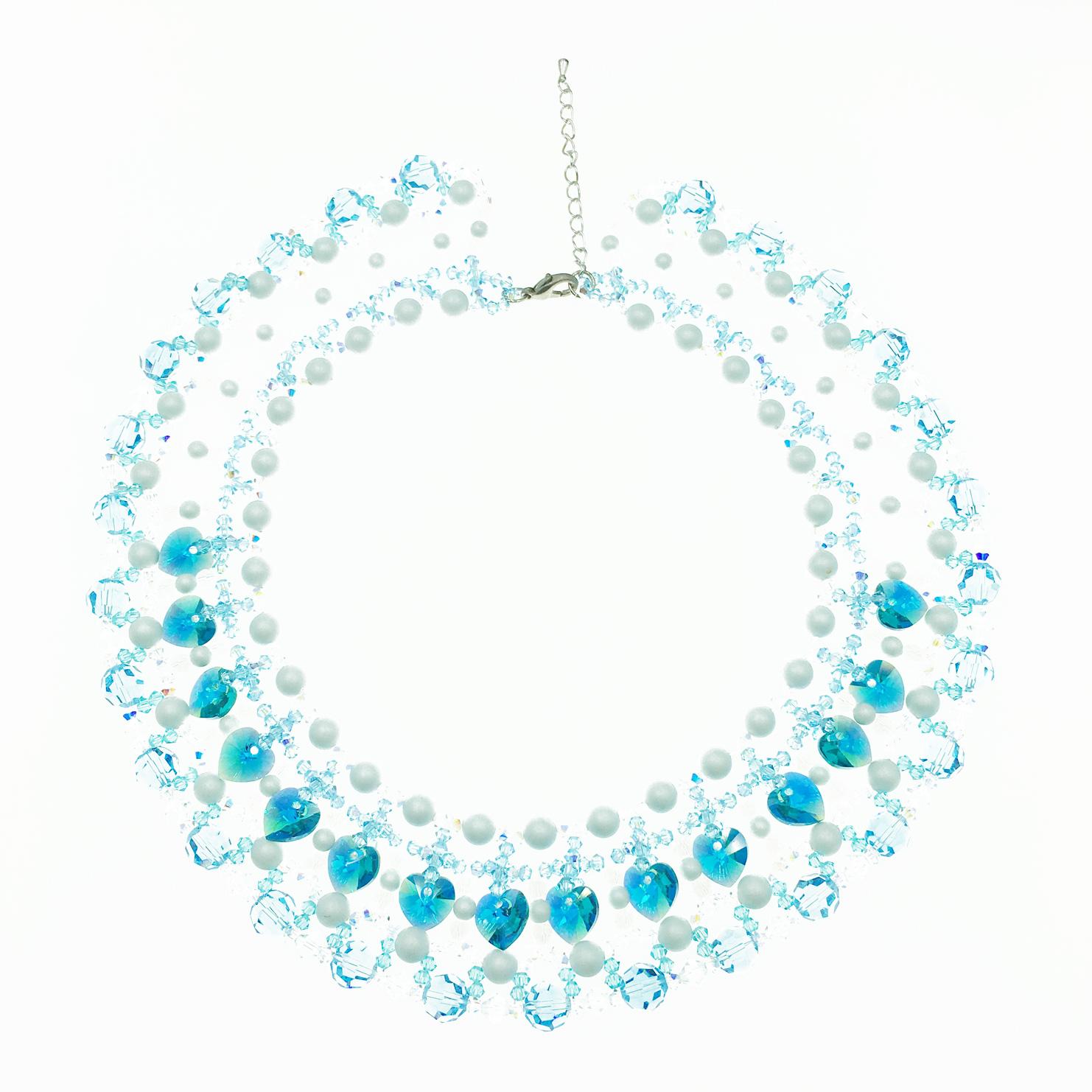 白色珠珠 愛心 水晶 透明 藍色 項鍊 採用施華洛世奇水晶元素 Crystals from Swarovski