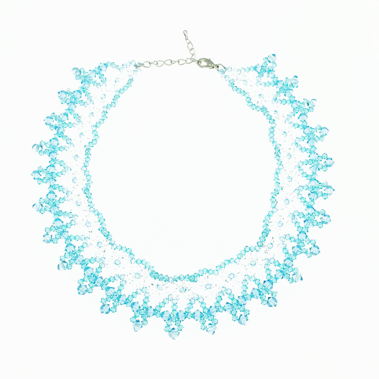 水晶 透明 藍色 項鍊 採用施華洛世奇水晶元素 Crystals from Swarovski