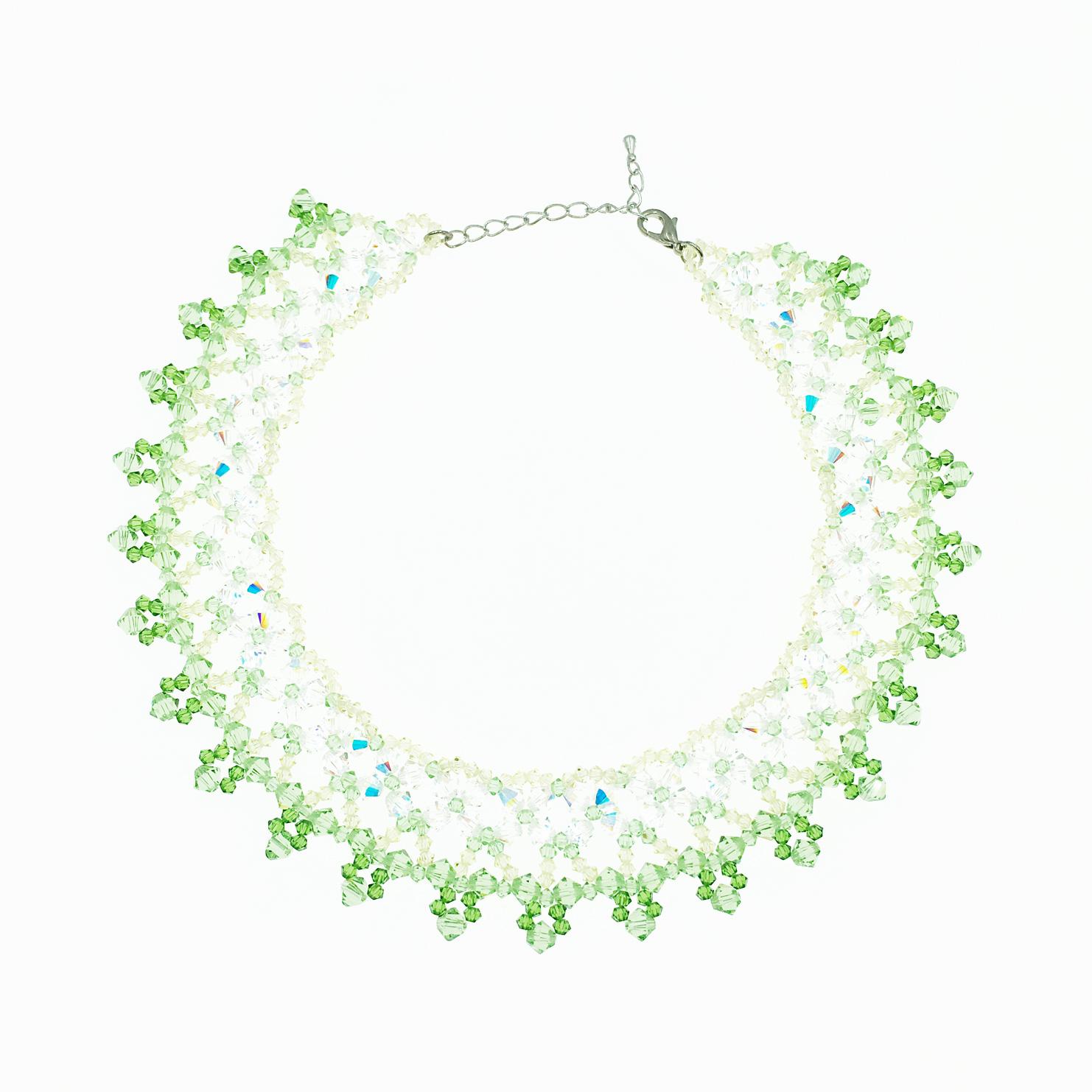 水晶 寶石 透明 綠色 黃色 項鍊 採用施華洛世奇水晶元素 Crystals from Swarovski