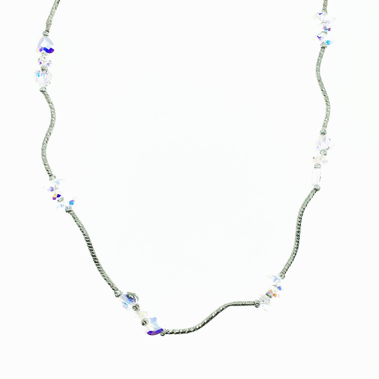 水晶 透明 水波紋 項鍊 採用施華洛世奇水晶元素 Crystals from Swarovski