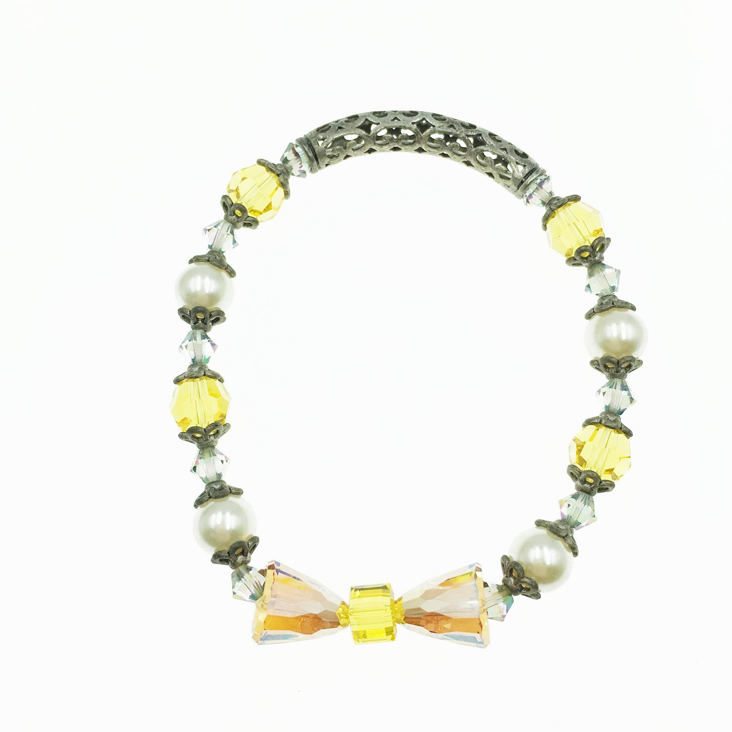 水晶 寶石 珍珠 簍空雕刻圖騰 手鍊 採用施華洛世奇水晶元素 Crystals from Swarovski