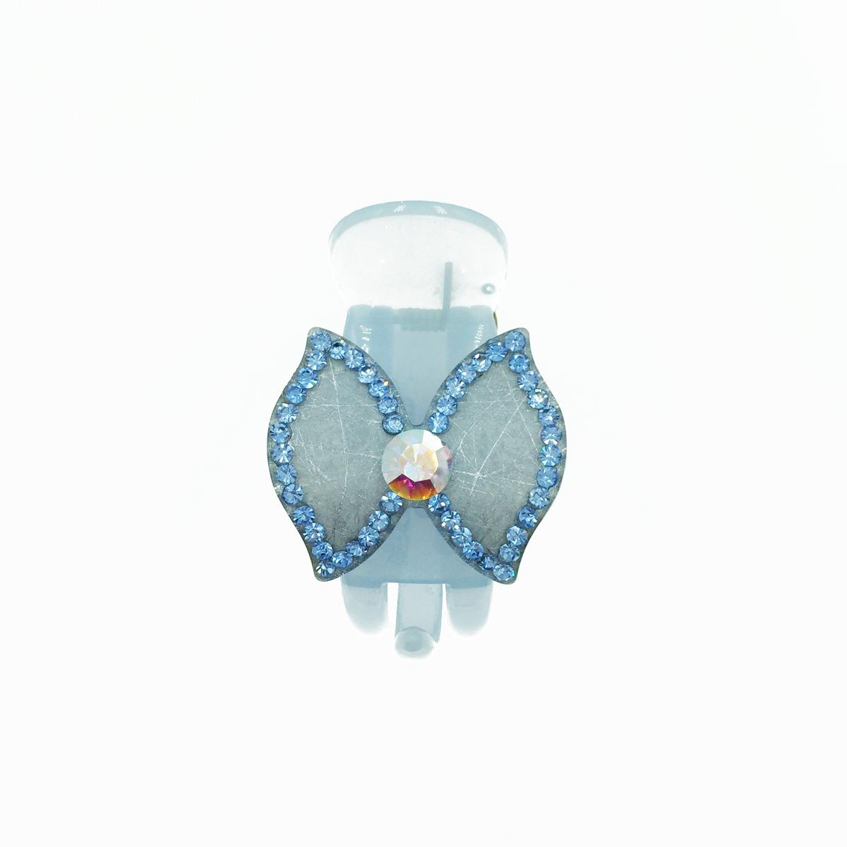 蝴蝶結 水鑽 藍色 瀏海夾 髮夾 法國夾 小鯊魚夾 採用施華洛世奇水晶元素 Crystals from Swarovski