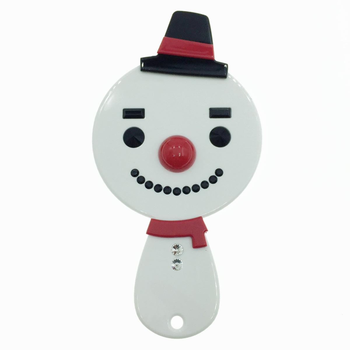 韓國 GRAIN DE BEAUTE (AZNAVOUR) 可愛雪人 圍巾 水鑽 帽子 化妝鏡 隨身鏡子 鏡子