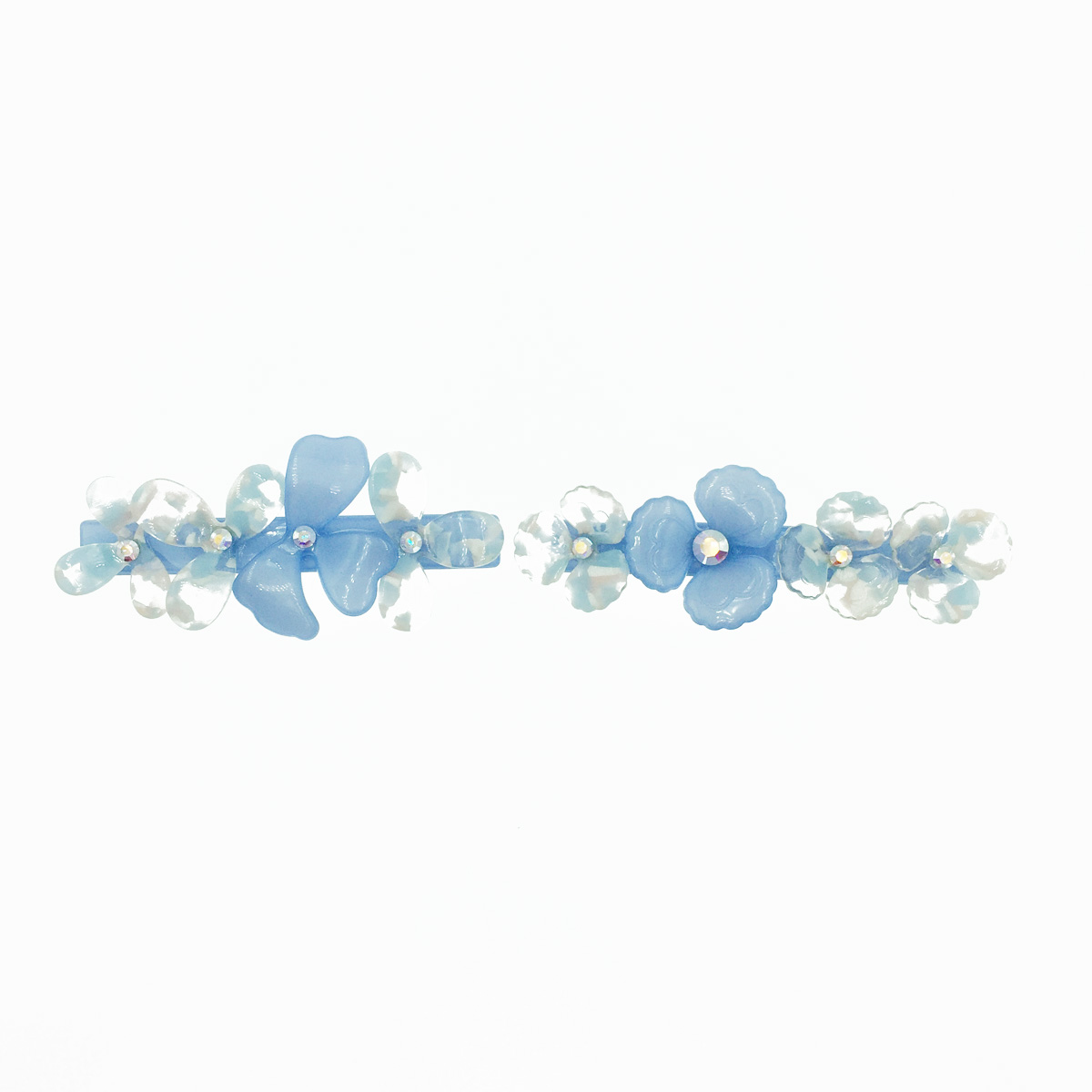 花 透明 藍色 水鑽 2款 髮夾 自動夾 採用施華洛世奇水晶元素 Crystals from Swarovski