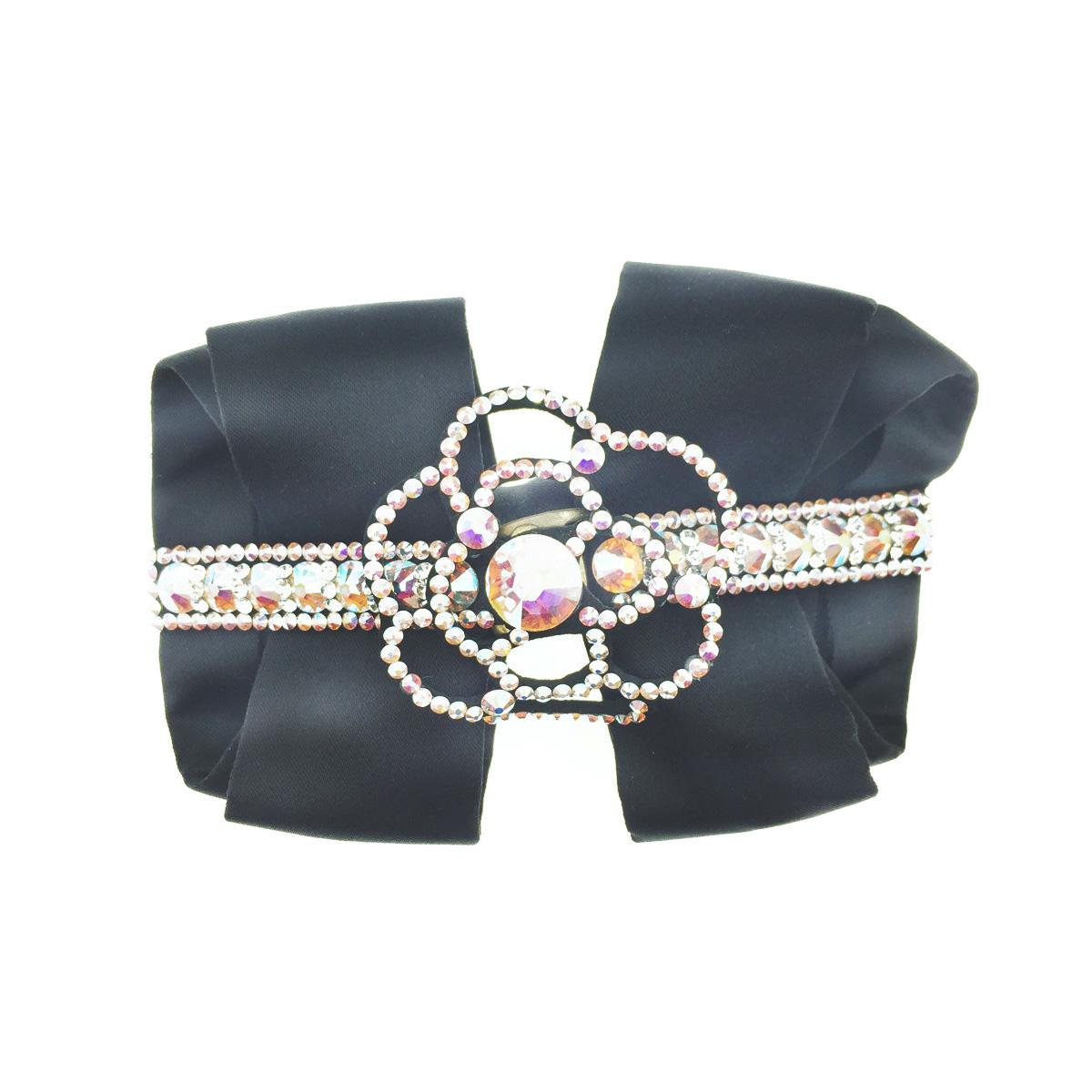 韓國 蝴蝶結 緞面 水鑽 花 髮夾 自動夾 採用施華洛世奇水晶元素 Crystals from Swarovski