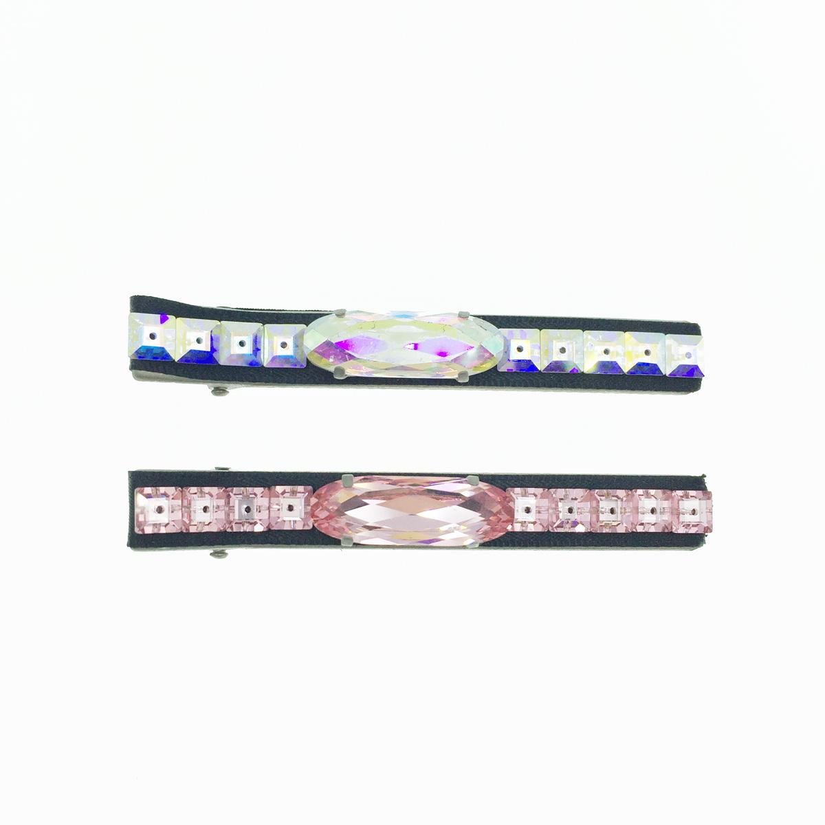韓國 水鑽 2色 基本款 壓夾 髮夾 採用施華洛世奇水晶元素 Crystals from Swarovski