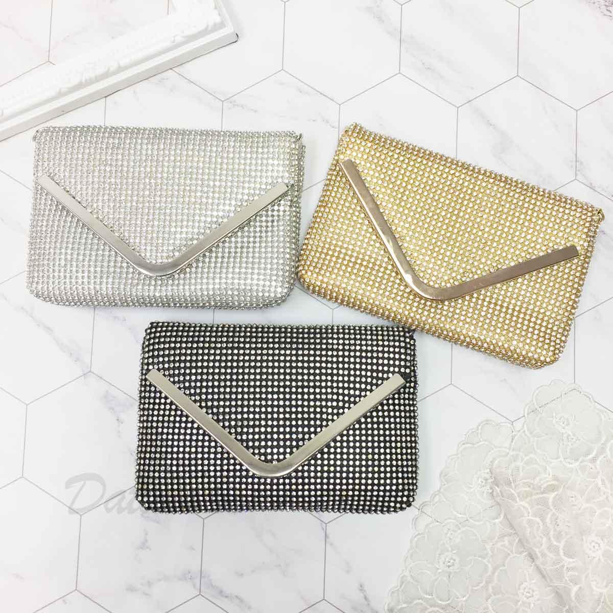 肩背包 側背包 質感 水鑽 磁扣開口 3色 採用施華洛世奇水晶元素 Crystals from Swarovski