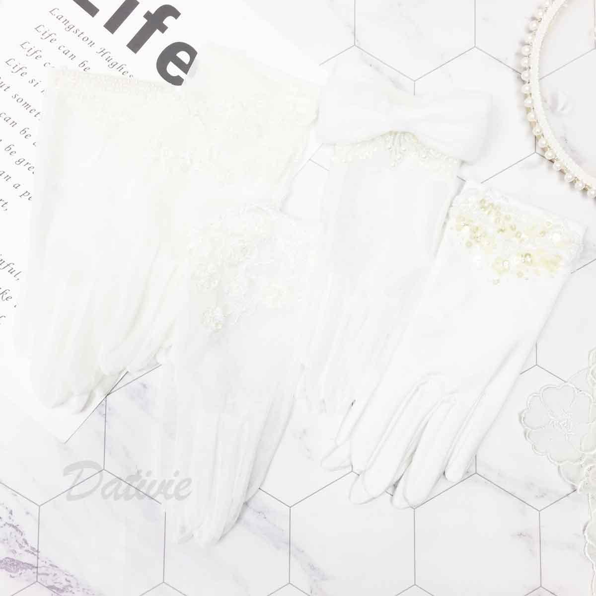 蝴蝶結 珍珠 蕾絲 亮片 5款 白色 手套 新娘飾品 新娘手套