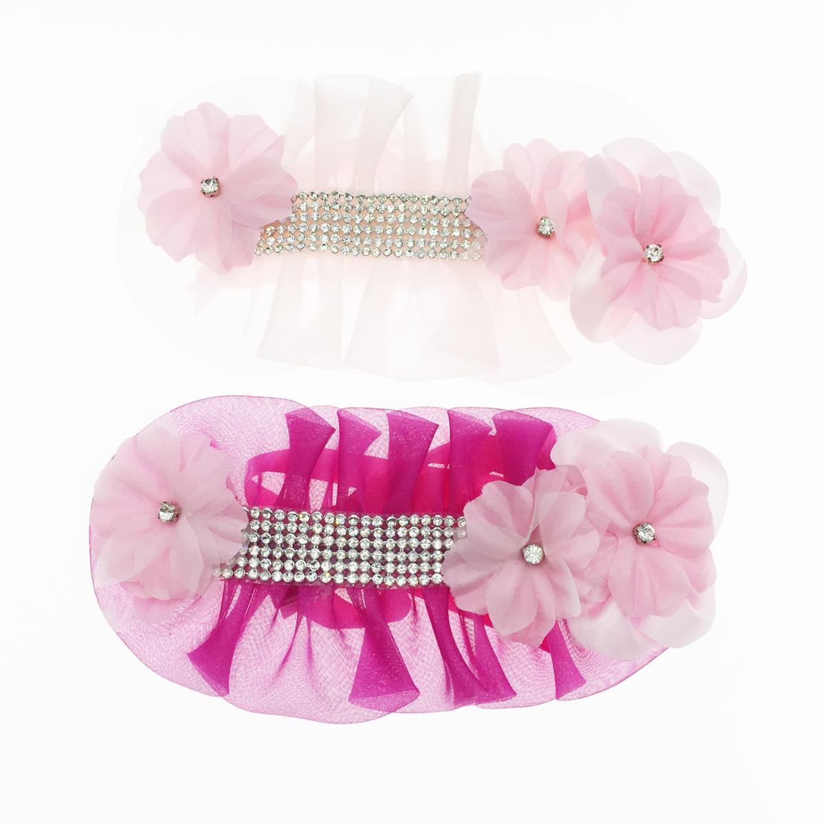 蕾絲 花 水鑽 粉色 桃紅色 2色 髮飾 採用施華洛世奇水晶元素 Crystals from Swarovski