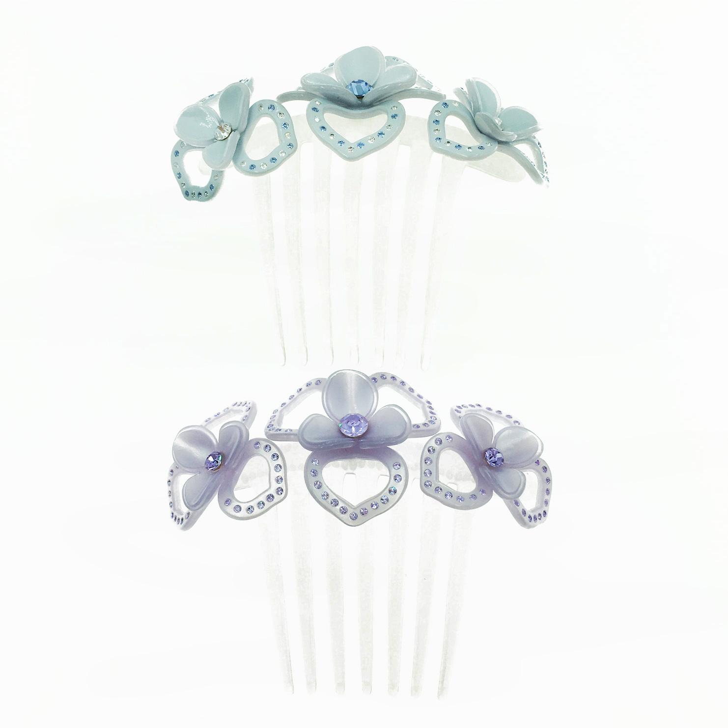 簍空花 藍紫2色 水鑽 髮飾 髮插 採用施華洛世奇水晶元素 Crystals from Swarovski