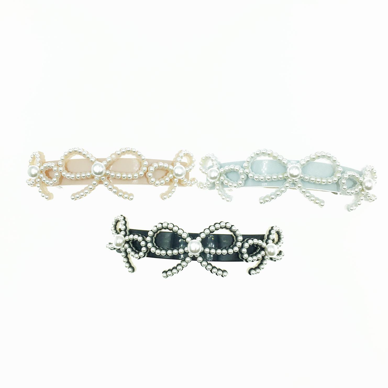 珍珠 蝴蝶結 3色 髮飾 髮夾 自動夾 採用施華洛世奇水晶元素 Crystals from Swarovski